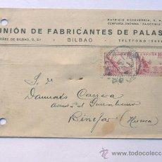 Sellos: TARJETA COMERCIAL / UNION DE FABRICANTES DE PALAS / BILBAO 1942. Lote 38703623