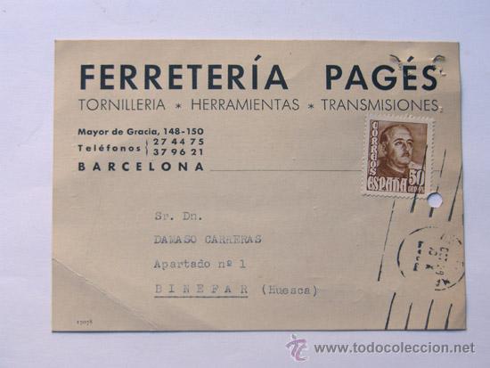 TARJETA COMERCIAL / FERRETERIA PAGÉS / TORNILLERIA / BARCELONA 1955 (Sellos - España - Tarjetas)