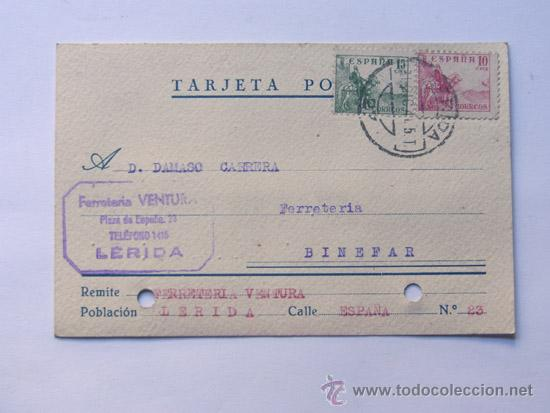 TARJETA COMERCIAL / FERRETERIA VENTURA / LLEIDA AÑO 1941 (Sellos - España - Tarjetas)