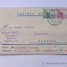 Sellos: TARJETA COMERCIAL / FERRETERIA VENTURA / LLEIDA AÑO 1941. Lote 38703920
