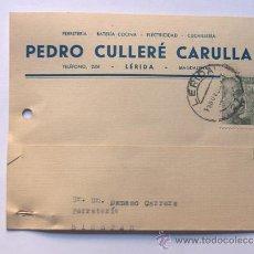Sellos: TARJETA COMERCIAL / PEDRO CULLERE CARULLA / LLEIDA AÑO 1953. Lote 38703929