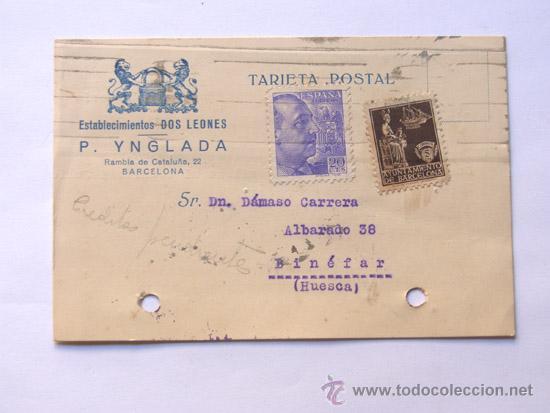 TARJETA POSTAL / CENSURA MILITAR BARCELONA / ESTABLECIMIENTO DOS LEONES / AÑO 1939 (Sellos - España - Tarjetas)