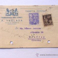 Sellos: TARJETA POSTAL / CENSURA MILITAR BARCELONA / ESTABLECIMIENTO DOS LEONES / AÑO 1939. Lote 38708474