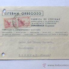 Sellos: TARJETA COMERCIAL AÑO 1942 / ESTEBAN ORBEGOZO -FABRICA COCINAS / ZUMARRAGA / GUIPUZCOA. Lote 38733819