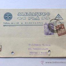 Sellos: TARJETA COMERCIAL AÑO 1942 / ALEJANDRO PLA / BARCELONA. Lote 38734027