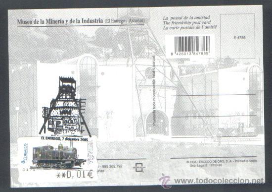 Sellos: 1 POSTAL CON ATMS ** LA PALAU ** MUSEO DE LA MINERIA EL ENTREGO ASTURIAS , 7 DIC. 2005 - Foto 2 - 39207414