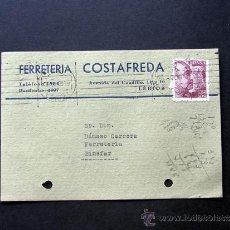 Sellos: TARJETA COMERCIAL / FERRETERIA COSTAFREDA / LERIDA - LLEIDA AÑO 1946. Lote 39283785