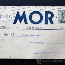 Sellos: TARJETA COMERCIAL / BASCULAS MOR / LERIDA - LLEIDA AÑO 1957. Lote 39283834