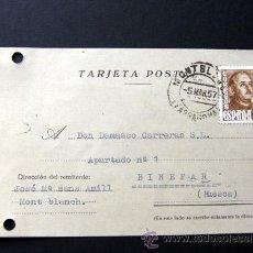 Sellos: TARJETA POSTAL COMERCIAL / JOSE M. SANS AMILL / MONTBLANCH 1957 / TARRAGONA. Lote 39588448
