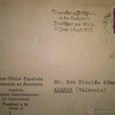 Sellos: TARJETA DE LA CAMARA ESPAÑOLA DE COMERCIO EN ALEMANIA CIRCULADA DE FRANKFURT A ABARAN MURCIA 1935. Lote 39637797