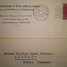 Sellos: TARJETA CIRCULADA DE BELGICA A ABARAN MURCIA 1936. Lote 39637820