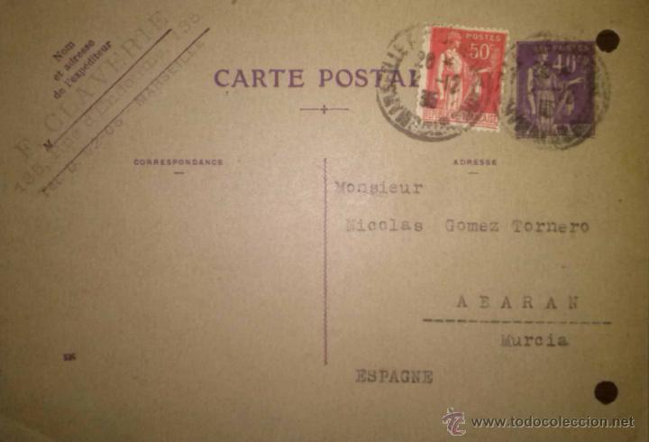 TARJETA CIRCULADA DE MARSELLA A ABARAN MURCIA 1935 (Sellos - España - Tarjetas)