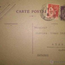 Sellos: TARJETA CIRCULADA DE MARSELLA A ABARAN MURCIA 1935. Lote 39637839