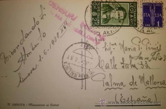 TARJETA POSTAL CIRCULADA DE ITALIA A PALMA DE MALLORCA CENSURADA 1938 (Sellos - España - Tarjetas)