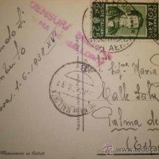 Sellos: TARJETA POSTAL CIRCULADA DE ITALIA A PALMA DE MALLORCA CENSURADA 1938. Lote 39960052