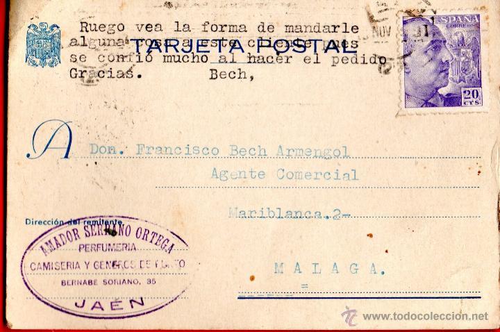 TARJETA POSTAL AMADOR SERRANO ORTEGA PERFUMERIA JAEN (Sellos - España - Tarjetas)