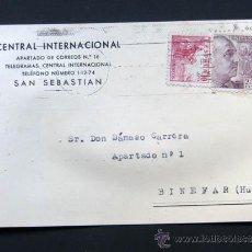 Sellos: TARJETA PUBLICIDAD / CENTRAL - INTERNACIONAL / SAN SEBASTIAN 1948. Lote 40260836