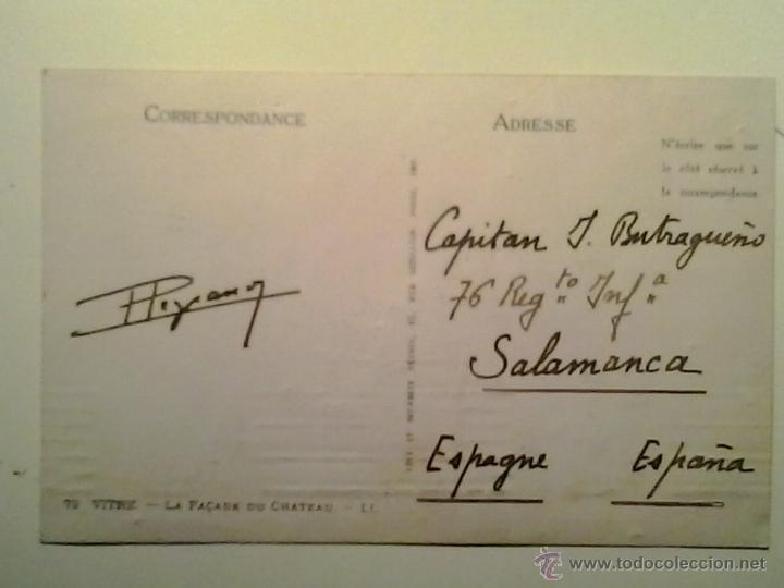 Sellos: T.P. - CIRCULADA FRANCIA-SALAMANCA - CASTILLO DE VITRE - FRANCIA - ROBERTO I - Foto 2 - 40428292