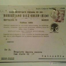 Sellos: TARJETA POSTAL COMERCIAL CIRCULADA MADRID-SALAMANCA - 1946. Lote 40467132