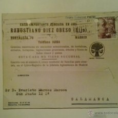 Sellos: TARJETA POSTAL COMERCIAL CIRCULADA MADRID-SALAMANCA - 1946. Lote 40467159