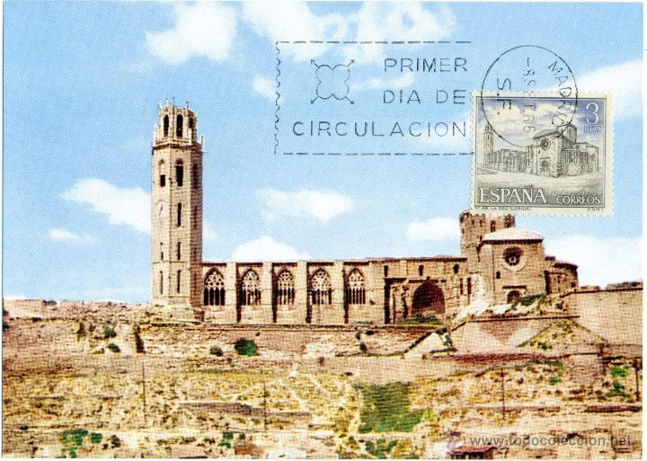 POSTAL SERIE TURISTICA - LA SEO ANTIGUA CATEDRAL LERIDA (Sellos - España - Tarjetas)