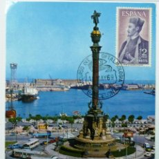 Stamps - TARJETA POSTAL MONUMENTO A COLON (BARCELONA). MATASELLO CONGRESO DE OFTALMOLOGIA. BARCELONA 1969. - 40687765