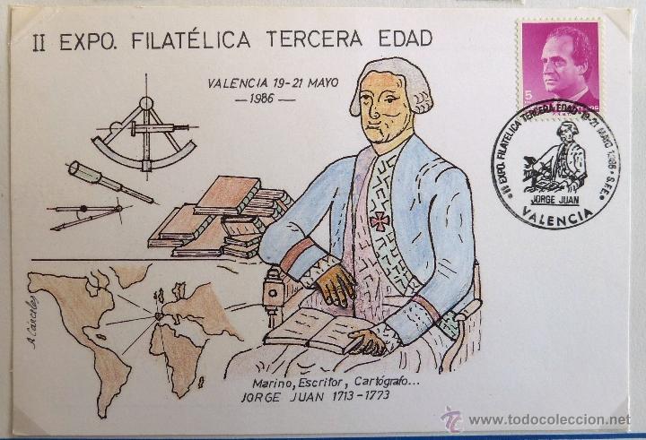TARJETA POSTAL II EXPOSICION FILATELICA TERCERA EDAD. JORGE JUAN. MATASELLO VALENCIA 1986. (Sellos - España - Tarjetas)