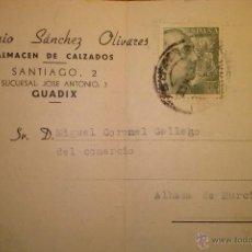 Timbres: TARJETA POSTAL DE ANTONIO SANCHEZ OLIVARES ALMACEN DE CALZADOS GUADIX GRANADA 1953 . Lote 41357715