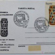 Sellos: TARJETA POSTAL CERAMICA ESCUELA VALENCIANA. MATASELLO VALENCIA 1987.. Lote 41422075