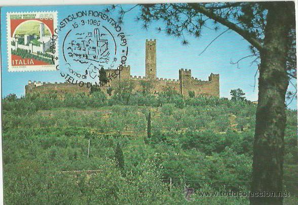 TARJETA MÁXIMA. ITALIA. 1986. CASTIGLION FIORENTINO. IL CASTELLO DI MONTECCHIO. (Sellos - Extranjero - Tarjetas Máximas)