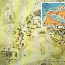 Sellos: TARJETA MÁXIMA. ITALIA. 1990. GENOVA. CELEBRAZIONI COLOMBIANE.. Lote 41991310
