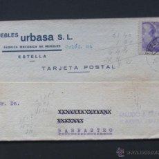Sellos: TARJETA COMERCIAL / MUEBLES URBASA - ESTELLA 1940 / SALUDO A FRANCO / NAVARRA. Lote 41991571