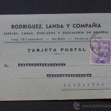 Sellos: TARJETA COMERCIAL / RODRIGUEZ LANDA Y CIA / ESPEJOS - LUNAS / BILBAO 1940. Lote 41991600