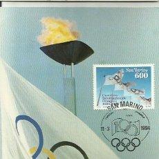 Sellos: TARJETA MÁXIMA. 1994. SAN MARINO. COMITATO INTERNAZIONALE OLIMPICO.. Lote 41992563