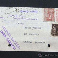 Sellos: TARJETA COMERCIAL / ARRIBA ESPAÑA - VIVA FRANCO / JOSE PAL - BARCELONA 1940. Lote 42271907