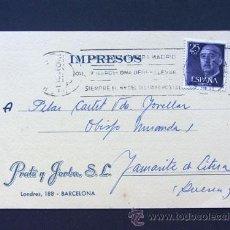 Sellos: TARJETA COMERCIAL / PRATS Y JORBA / BARCELONA 1960. Lote 42271952