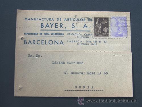 TARJETA COMERCIAL / BAYER S.A. / ARTICULOS DE VIAJE / BARCELONA 1940 (Sellos - España - Tarjetas)