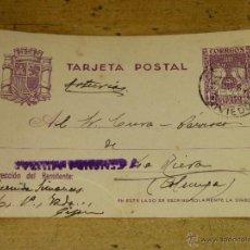 Sellos: ENTERO POSTAL CON CENSURA MILITAR, ENVIADO DE GIJON A LA RIERA (COLUNGA) EN 1938. Lote 42391170