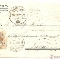 Francobolli: BARCELONA. IMPRESO COMERCIAL. 1922. Lote 42816971
