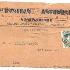 Sellos: PAMPLONA. TARJETA COMERCIAL DE 1933. Lote 42817089