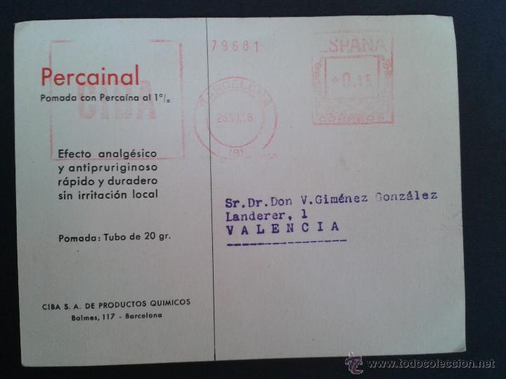 Sellos: TARJETA POSTAL COMERCIAL. PERCAINAL. BARCELONA. - Foto 2 - 43310201