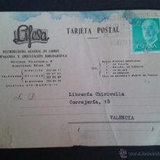 Sellos: TARJETA POSTAL COMERCIAL.LIFESA. DISTRIBUIDORA DE LIBROS. MADRID. FRANQUEO DE 1,50 PTAS. 1971.. Lote 43310299