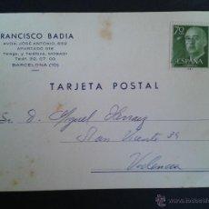 Sellos: TARJETA POSTAL COMERCIAL. FRANCISCO BADÍA. BARCELONA. . Lote 43310428
