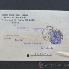 Sellos: TARJETA COMERCIAL / RAMON SOLER / CENSURA MILITAR / LLEIDA AÑO 1940. Lote 43407907