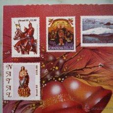 Sellos: FELICITACIÓN NAVIDAD *SELLOS* BRASIL CANADÁ CHILE MÉXICO PERÚ + SOBRE MATASELLOS BRASIL 1987. Lote 43535329