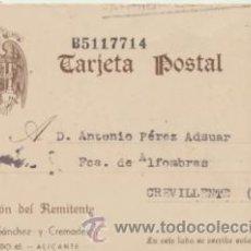 Timbres: TARJETA ENTERO POSTAL. DE ALICANTE A CREVILLENTE DEL 1 JUN. 1942. EDIFIL 83.. Lote 43692573
