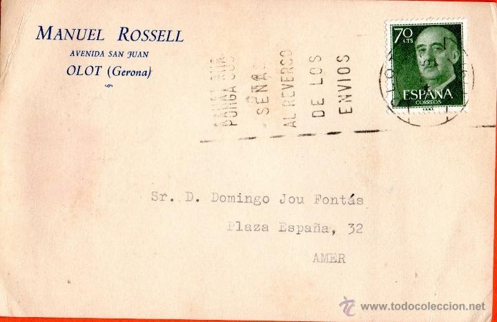 . TARJETA POSTAL MANUEL ROSSELL OLOT (Sellos - España - Tarjetas)