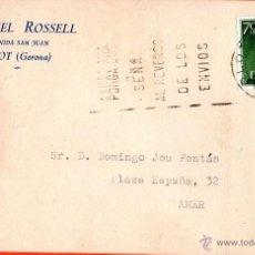 Sellos: . TARJETA POSTAL MANUEL ROSSELL OLOT. Lote 43701818