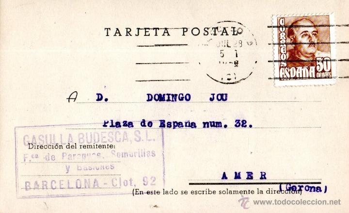 . TARJETA POSTAL GASULLA BODEGA BARCELONA (Sellos - España - Tarjetas)