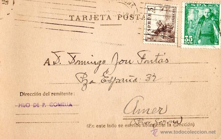 . TARJETA POSTAL HIJO DE P.COMELLA (Sellos - España - Tarjetas)